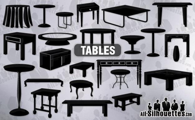 Vecteur tables des cliparts toutes les silhouettes