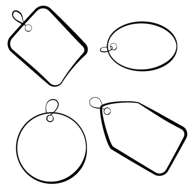 Vecteur tag enfantin rectangle carré ovale cercle croquis