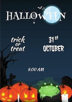 Vecteur de taille de papier affiche halloween heureux