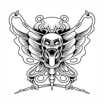 Vecteur de tatouage de crâne de papillon illustration