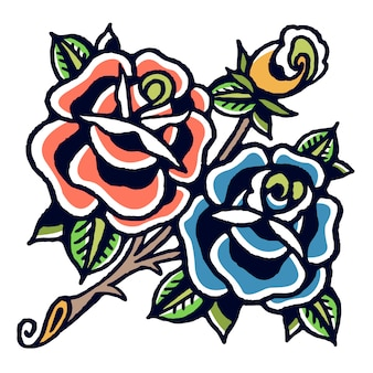 Vecteur de tatouage old school roses bleues et orange