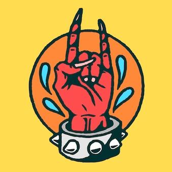 Vecteur de tatouage vieille école main satan