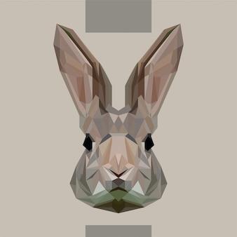 Vecteur tête basse lapin polygonale
