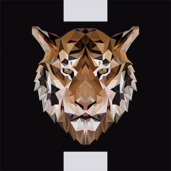 Vecteur tête basse de tigre polygonale