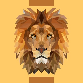 Vecteur tête de lion faible polygonale