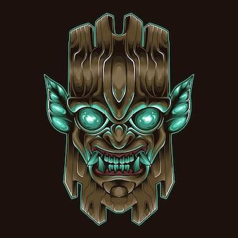 Vecteur de tête de monstre en bois