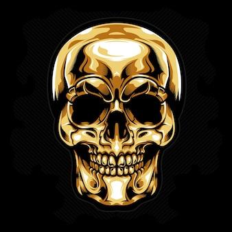 Vecteur de tête d'or crâne