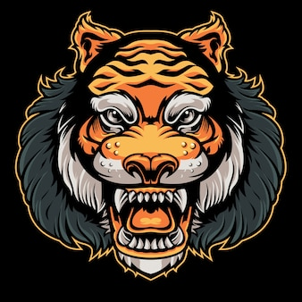 Vecteur de tête de tigre en colère