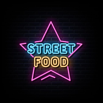 Vecteur de texte de signe de logo de néon de nourriture de rue