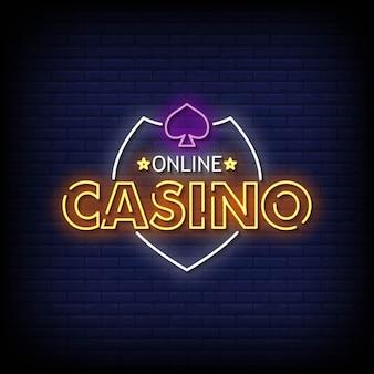Vecteur de texte de style d'enseignes au néon de casino en ligne