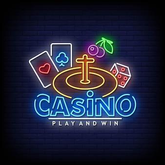 Vecteur de texte de style d'enseignes au néon de casino