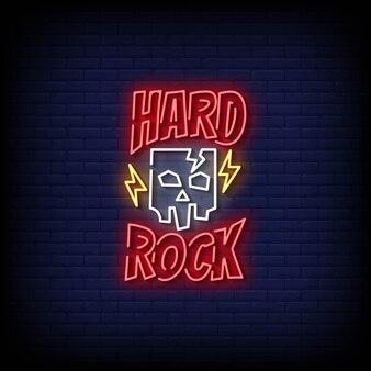 Vecteur de texte de style d'enseignes au néon de hard rock