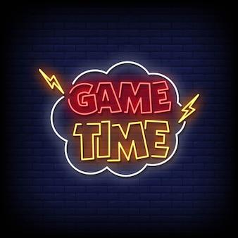 Vecteur de texte de style d'enseignes au néon de temps de jeu