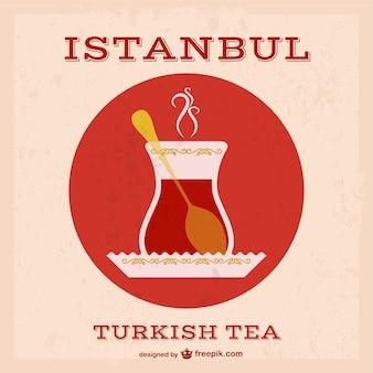Vecteur de thé turc grunge