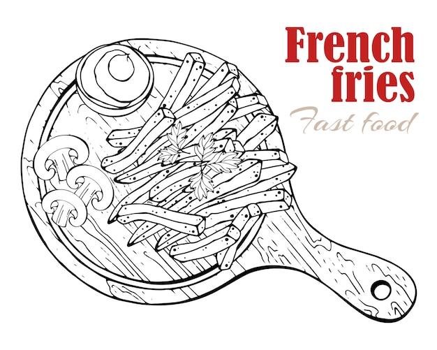 Vecteur. thème de la restauration rapide: frites sur une planche.