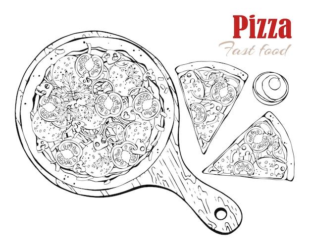Vecteur. thème de la restauration rapide: pizza sur un plateau.