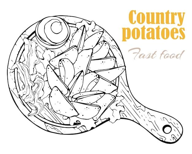Vecteur. thème de la restauration rapide: pommes de terre du pays sur un tableau.