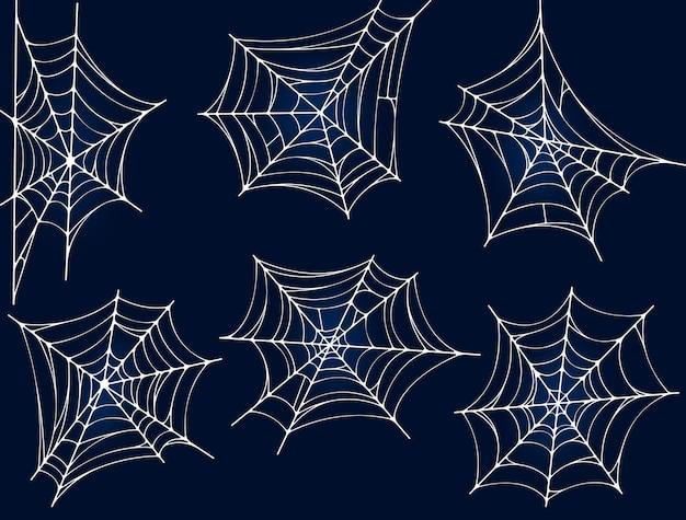 Vecteur de toile d'araignée ou de toile d'araignée définie des icônes linéaires