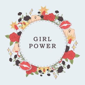 Vecteur de trame fleur puissance fille