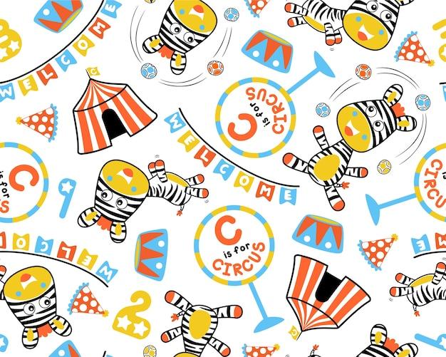 Vecteur transparente motif de cirque set dessin animé avec zèbre
