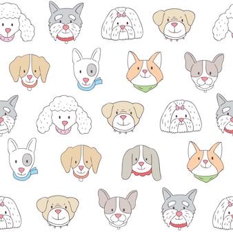 Vecteur transparente motif dessin animé chiens mignons.