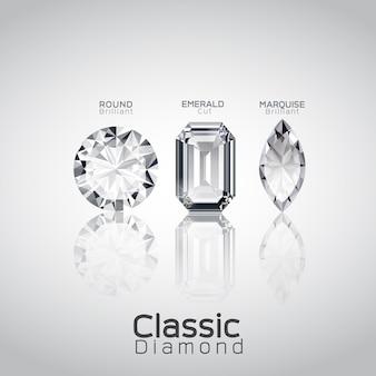 Vecteur de trois diamants coupés