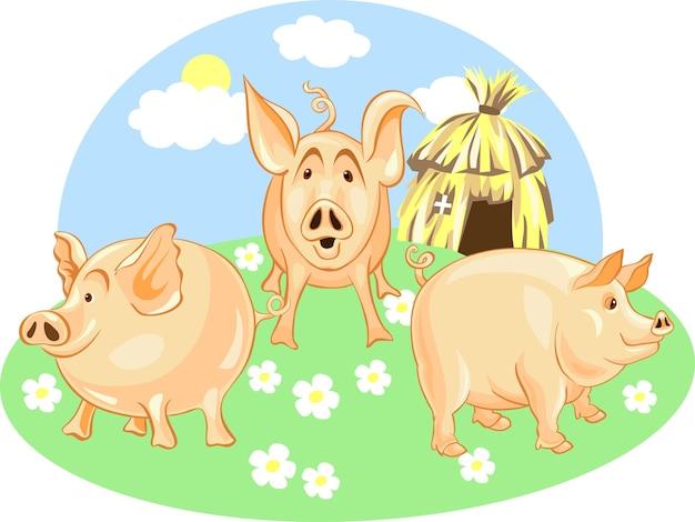 Vecteur trois petits cochons