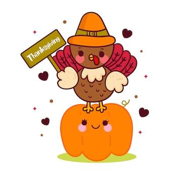 Vecteur de turquie mignon portant étiquette de thanksgiving