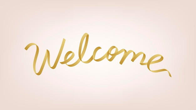Vecteur de typographie de bienvenue doré festif