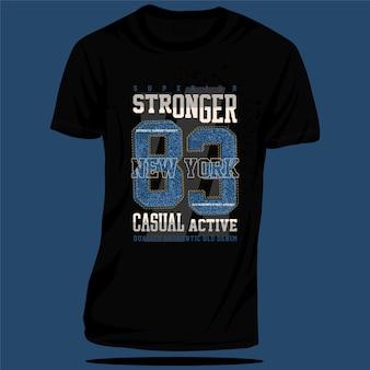 Vecteur de typographie de conception de t-shirt graphique sport actif décontracté plus fort