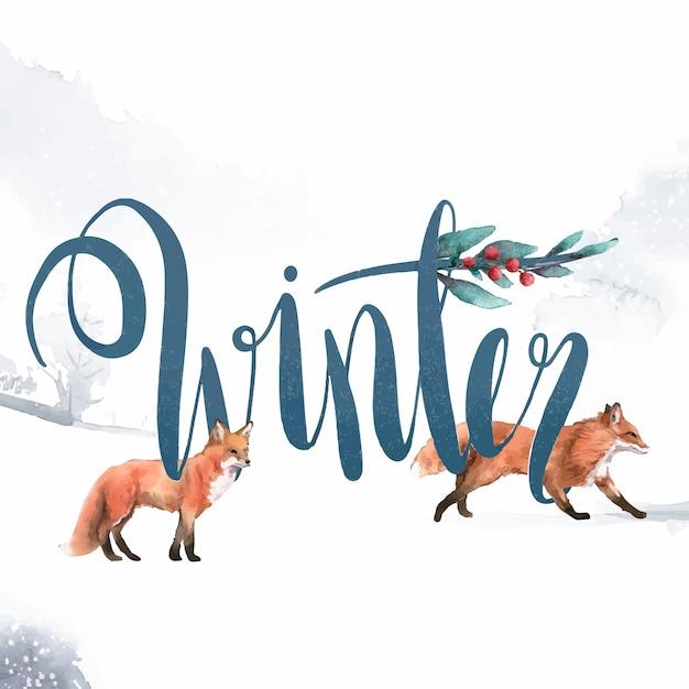 Vecteur de typographie hiver style aquarelle