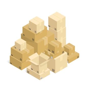 Vecteur unboxing de boîte en carton d'expédition en ligne