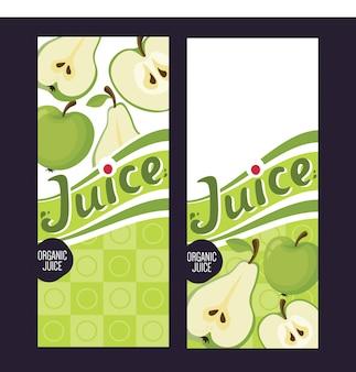 Vecteur de vecteur pack de jus de fruits sertie de pomme verte, pomme rouge et poire.