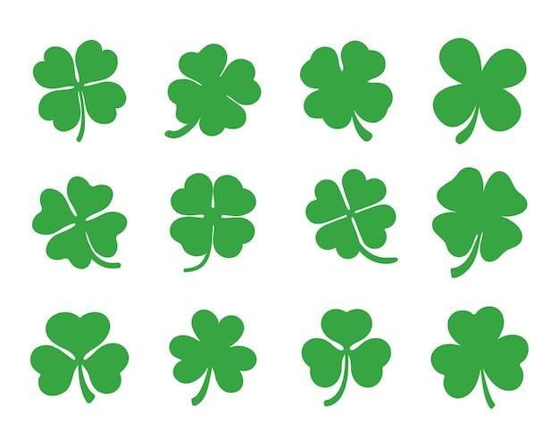 Vecteur vert trèfle à quatre pointes et trois pointes pour la décoration à la saint-patrick.