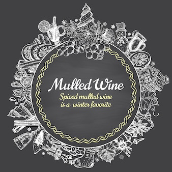 Vecteur de vin chaud dessiné à la main autour de bannière. affiche croquis noir et blanc. modèles de conception logo et emblème de menu dans un style vintage rétro.