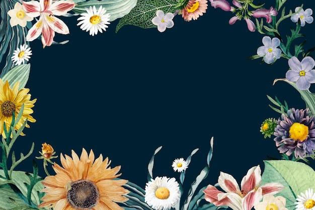 Vecteur vintage de bordure florale colorée