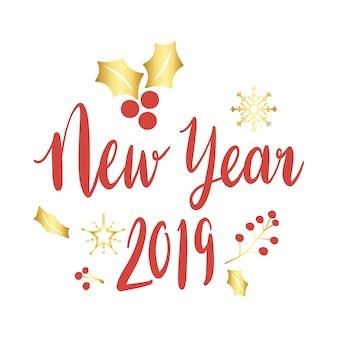 Vecteur de voeux de nouvel an 2019