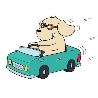 Vecteur de voiture conduite chien