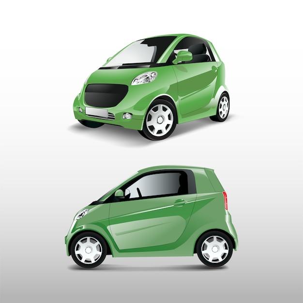 Vecteur de voiture hybride compacte verte
