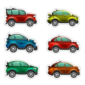 Vecteur de voitures de dessin animé coloré