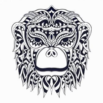 Vecteur de zentangle singe stylisé noir et blanc