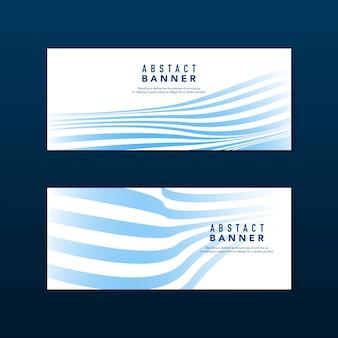 Vecteurs de bannière abstraite rayé bleu et blanc