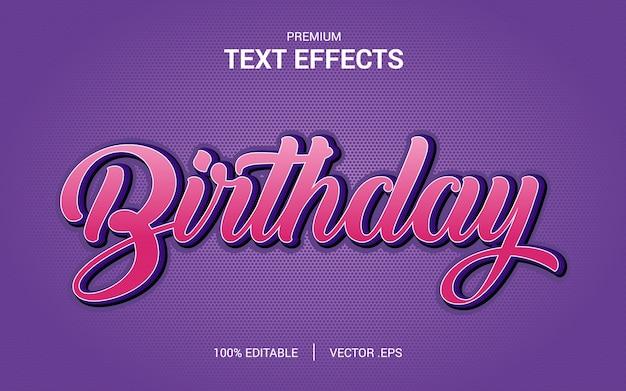 Vecteurs d'effet de texte d'anniversaire, ensemble effet de texte d'anniversaire abstrait rose violet élégant