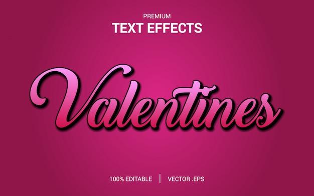 Vecteurs d'effet de texte de la saint-valentin, ensemble effet de texte abstrait rose violet violet élégant