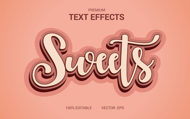 Vecteurs d'effets de texte de bonbons, ensemble effet de texte de bonbons abstraits rose violet élégant