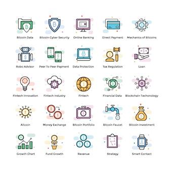 Vecteurs fintech et blockchain