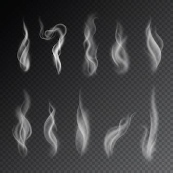 Vecteurs de fumée sur fond transparent.
