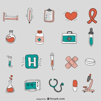 Vecteurs de l'hôpital dessinés à la main
