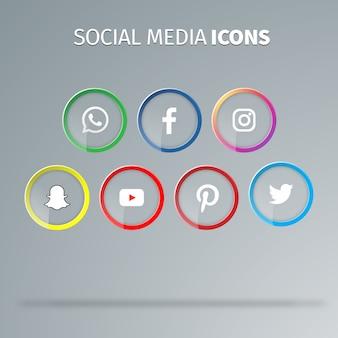Vecteurs d'icônes de médias sociaux