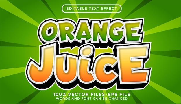 Vecteurs premium d'effet de texte modifiable de jus d'orange